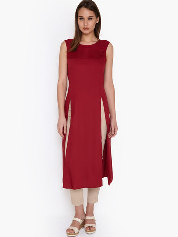 Amari West Women Red Solid Longline Top with Tucks
