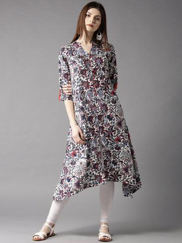 HERE&NOW Women Off-White & Blue Printed A-Line Kurta