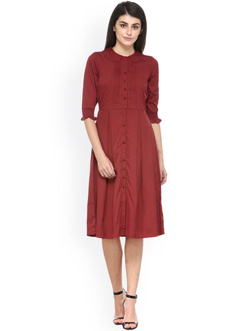 Magnetic Designs Women Maroon Pleated A-Line Dress