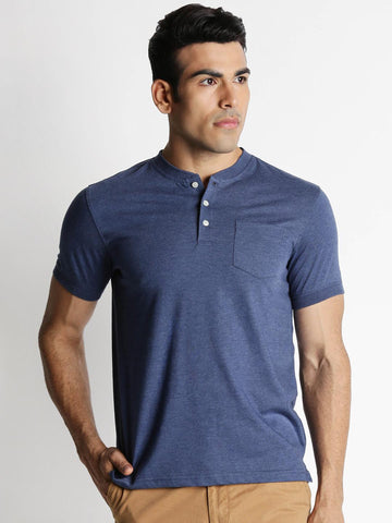 Spiritus by pantaloons Men Blue Solid Henley Neck T-shirt