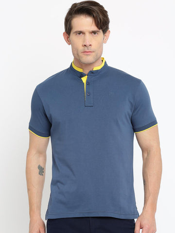 Pepe Jeans Men Blue Solid Mandarin Collar T-Shirt