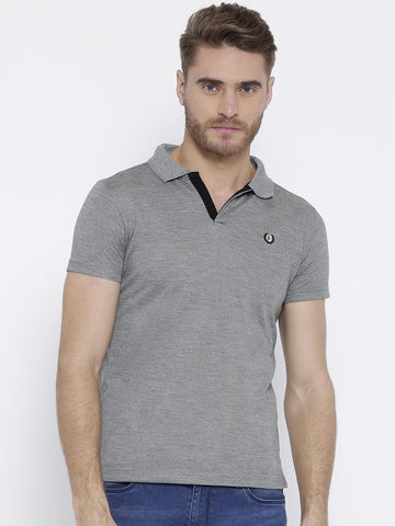Duke Men Grey Melange Solid Polo Collar T-shirt