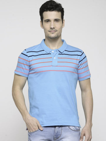 People Men Blue Striped Polo Collar T-shirt