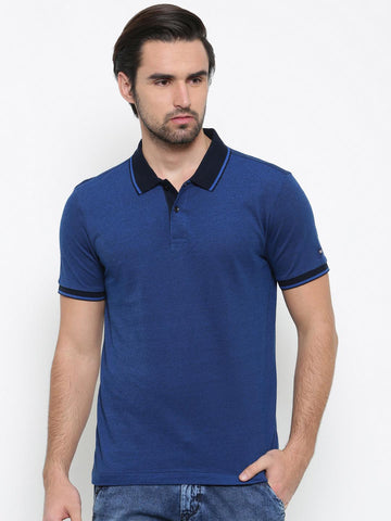 Arrow Sport Men Blue Solid Polo T-shirt