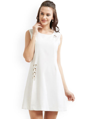 Soie Women Off-White Solid A-Line Dress