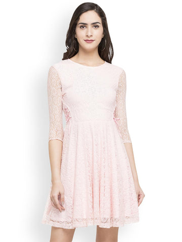 Globus Women Pink Self Design Fit and Flare Dress
