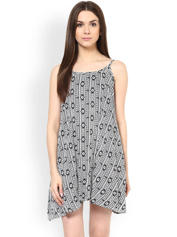 MIWAY Women Black Printed A-Line Dress