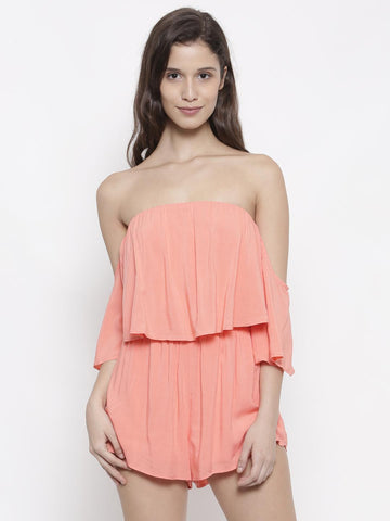 FOREVER 21 Coral Orange Off-Shoulder Layered Playsuit