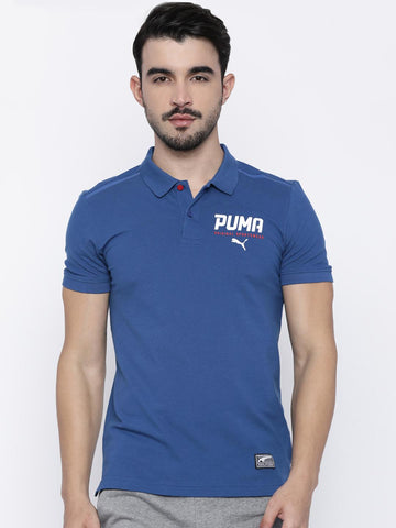 Puma Men Blue Solid Polo Collar T-shirt