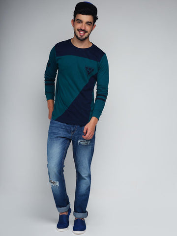 Difference of Opinion Men Green & Navy Colourblocked Round Neck T-Shirt