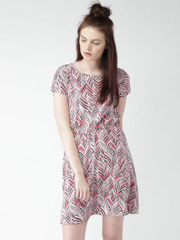 Mast & Harbour Women Off-White & Pink Printed Fit & Flare Dress