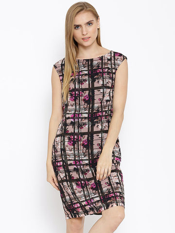 Vero Moda Dusty Pink & Black Polyester Printed Sheath Dress