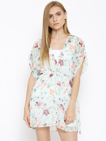 Vero Moda Off-White Polyester Printed Sheer Tailored Dress