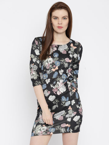 Elle Black Floral Print Sheath Dress