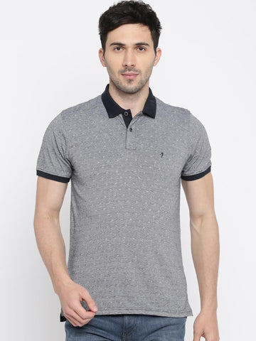 Indian Terrain Men Navy Blue Self Design Polo Collar T-shirt