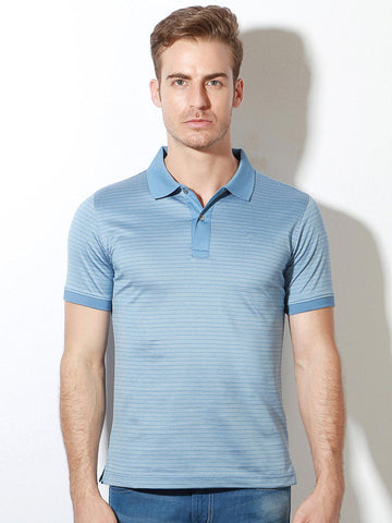 Van Heusen Men Blue Striped Polo Collar T-shirt