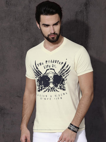 Roadster Men Cream-Coloured Printed T-shirt