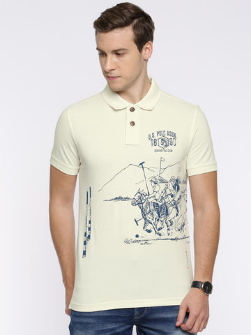 U.S. Polo Assn. Denim Co. Men Off-White Printed Polo T-Shirt