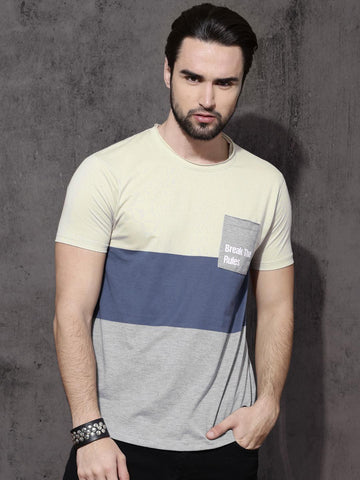 Roadster Men Beige & Blue Colourblocked Round Neck T-shirt