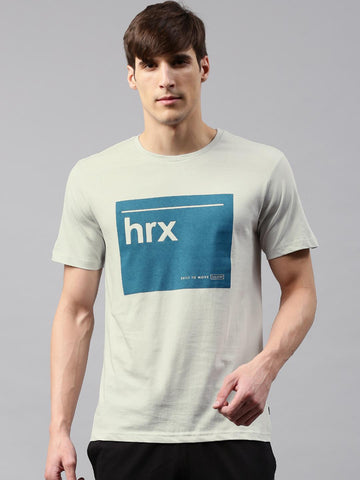HRX by Hrithik Roshan Men Grey Printed Round Neck T-shirt