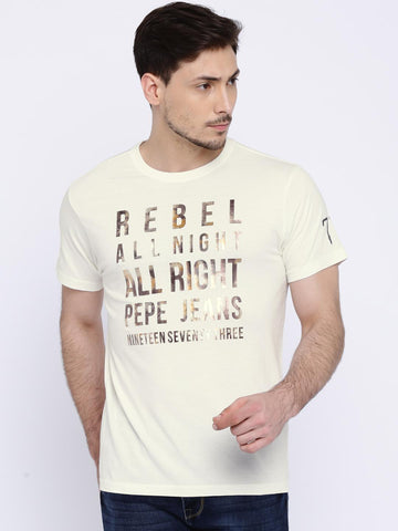 Pepe Jeans Men Off-white Printed T-shirt