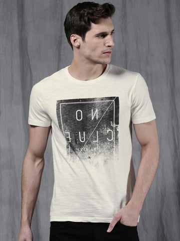 WROGN Men Off-White Printed Round Neck T-shirt