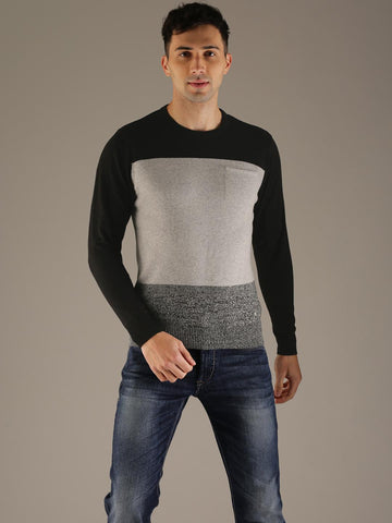 Flying Machine Men Black & Grey Colourblocked Pullover