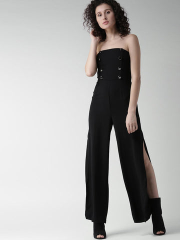 FOREVER 21 Black Solid Off-Shoulder Basic Jumpsuit