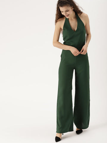 DressBerry Green Solid Basic Jumpsuit