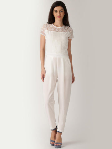 DressBerry White Polyester Georgette Jumpsuit