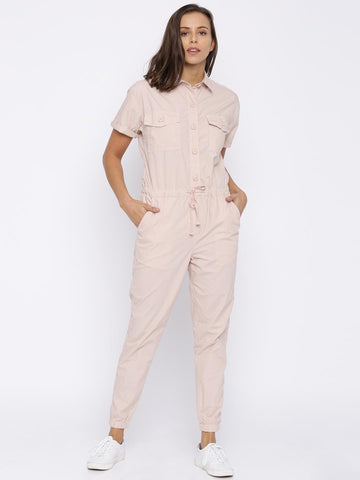 FOREVER 21 Pink Solid Jumpsuit