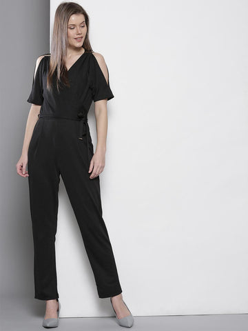 DOROTHY PERKINS Black Solid Cold Shoulder Jumpsuit