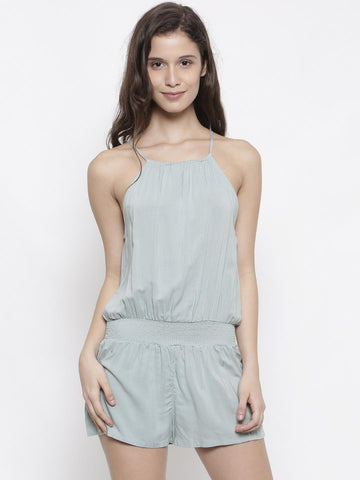 FOREVER 21 Green Solid Playsuit