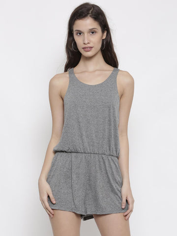 FOREVER 21 Grey Melange Solid Playsuit