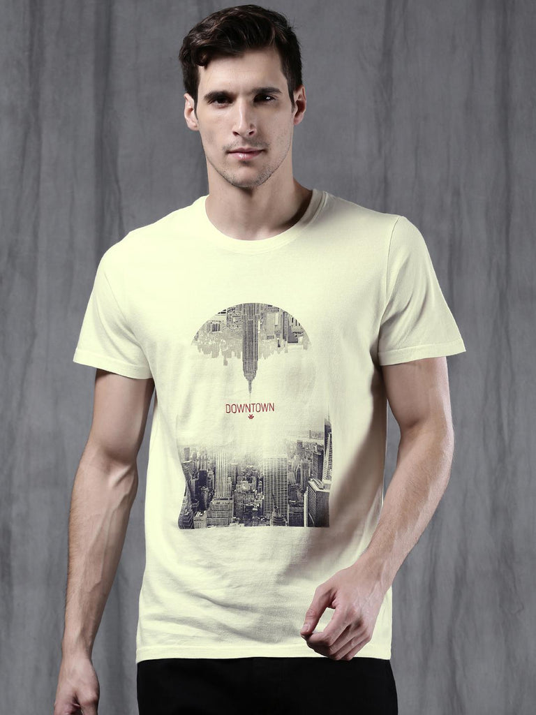 b5dbbf5390 WROGN Men Off-White Printed Round Neck T-shirt – similar recommendations
