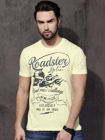 Roadster Men Yellow Printed Round Neck T-Shirt