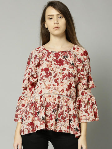 Marks & Spencer Women Cream-Coloured & Red Printed Top