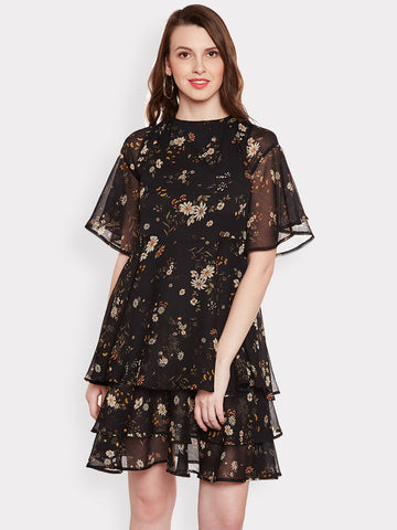MAGRE Women Black Printed Fit and Flare Dress