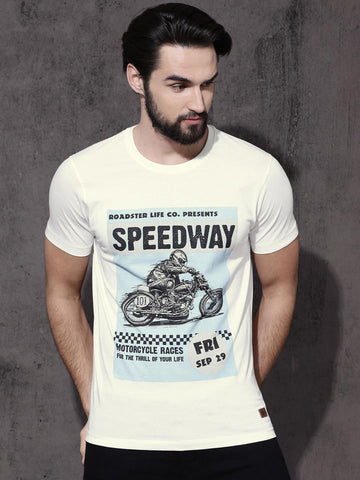 Roadster Men Off-White Printed Round Neck T-shirt