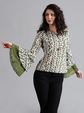 Noi Women Cream-Coloured Bell Sleeve Printed Top