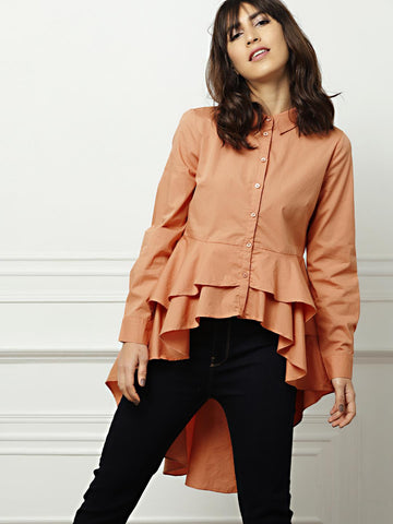all about you Women Peach-Coloured Regular Fit Solid Casual Shirt
