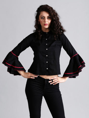 Style Quotient Women Black Regular Fit Solid Casual Shirt