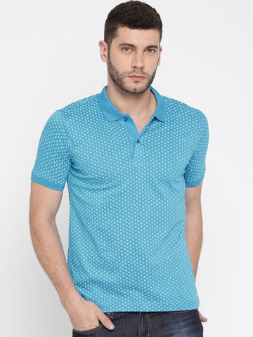 Van Heusen Men Blue Printed Polo Collar T-shirt