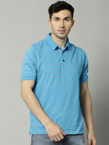 Marks & Spencer Men Blue & Grey Striped Polo T-Shirt