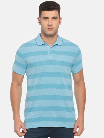 Indian Terrain Men Blue Striped Polo Collar T-shirt