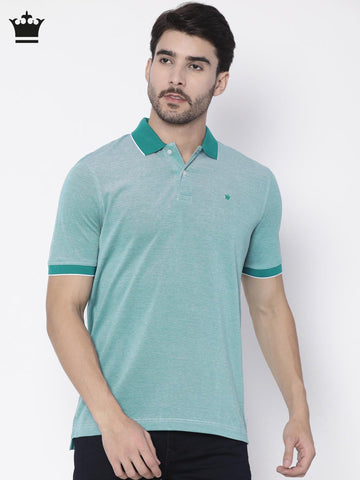 Louis Philippe Men Blue Solid Polo Collar T-shirt