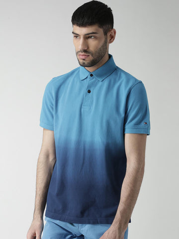 Tommy Hilfiger Men Blue Ombre-Dyed Custom Fit Polo Collar T-shirt