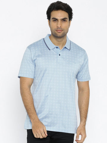 ColorPlus Men Blue Printed Polo T-shirt