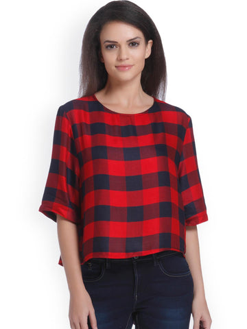 ONLY Women Red & Navy Checked Styled Back Top