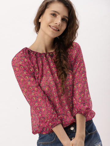 DressBerry Women Red Printed Blouson Top